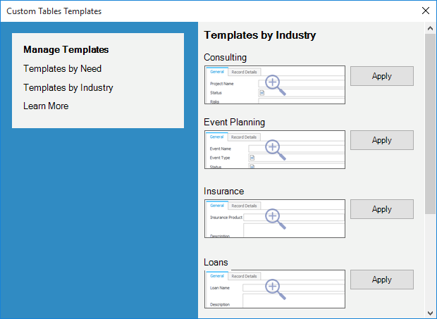 industry template library menu windows